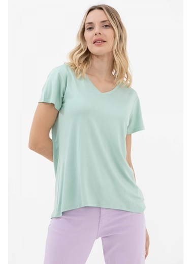 Sementa V Yaka Arkası Uzun Dökümlü Tshirt - Yeşil Yeşil